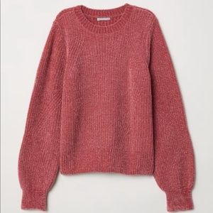 H&M chenille pink sweater XS